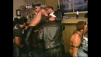 Sexy gay men giving head jobs and have oral fun in bar group sex