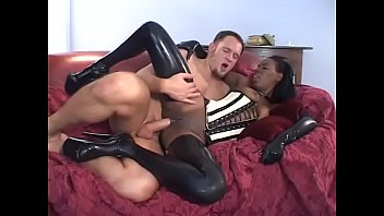 Ebony girls in latex Ebony babe lady armani dressed in latex gets rammed hard from behind in bed