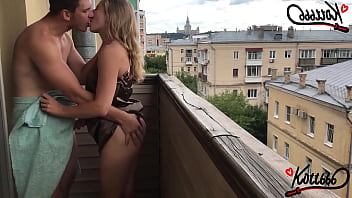 Outdoor public sex on the balcony | standing doggystyle 9 min