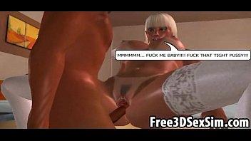 Hot busty 3D cartoon babe sucking and fucking