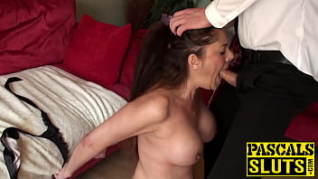 Sub slut takes dick and cum down her throat in rough session