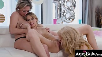 Scarlett Sage getting a sensual experience for her birthday from Nina Hartley and Dee Williams