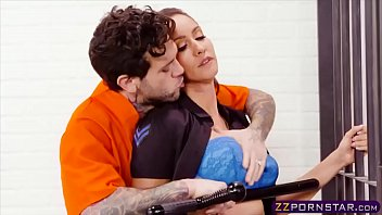 Naughty prison guard chick fucks with a lucky inmate