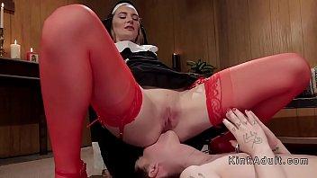 Submissive slut punished in lezdom threesome