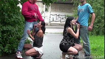 Public street foursome sex orgy with a fat couple and a skinny couple fucking