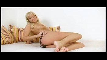 Blond princess Cindy Dollar wild dildo action on coach