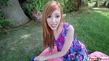Outdoor POV blowjob session with redhead stepmom