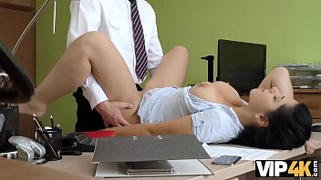 VIP4K. Modest brunette has dirty sex for cash in the loan agency