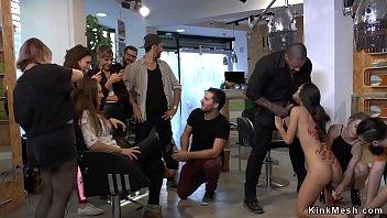 Brunette slut banged at hairdressers