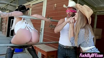 Slut crazy teens ride a cowboys big cock in a foursome