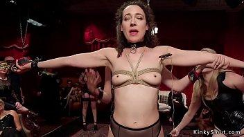 Busty dominatrix makes slaves anal fuck
