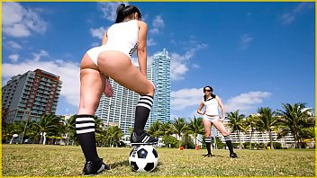 Bangbros - sexy latin girls with big asses playing soccer in public field