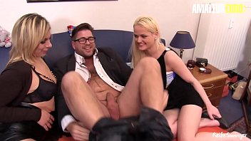AMATEUR EURO - Horny Guy Invites His Girls Next Door For Some Hardcore Threeway Fun