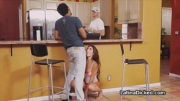 Horny Latina spinner cheats next to bf