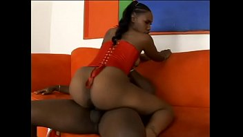 Ebony bombshell in red lingerie Nikole Richie get nailed by horny fellow with big cock