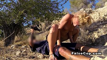 Small tits blonde fucks fake cop outdoor