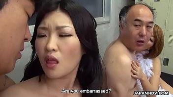 Side by side sex position Two japanese wives get fucked and facialized side by side