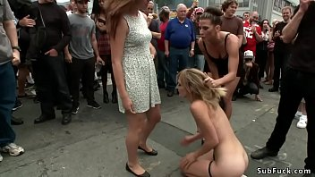 Blonde group fucked in men rest room