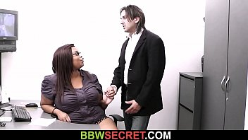 Plump ebony secretary rides boss cock