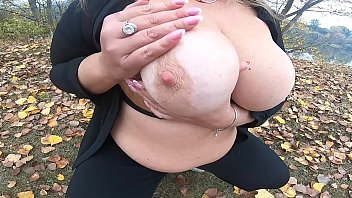 Outdoors big boobs play in park