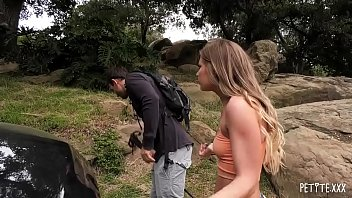 Petite Teen Deepthroats and Fucks A Fat Cock After She Is Picked Up By A Hiker