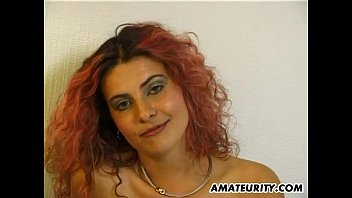 Horny redhead girlfriend masturbates and sucks with facial