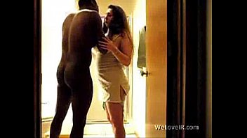 Inter racial adult Black dude gets his girlfriend in the bathroom