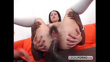 Scary big cock - Two sexy brunettes in a threesome with a big black cock sb-3-01