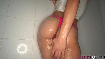 Hot Latina Gabriella Sucks My Big Cock in the Shower.