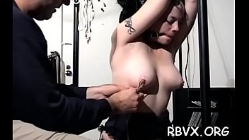 Big bold guy has no mercy for cute girl as this chab bounds her tight