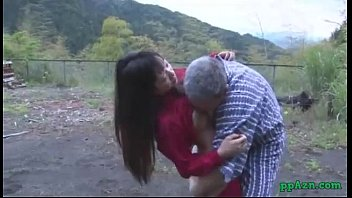 Porn japs - Asian girl getting her pussy licked and fucked by old man cum to ass outdoor at