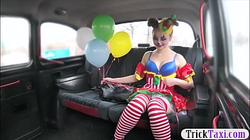Adult x-men costume Gal in clown costume fucked by the driver for free fare