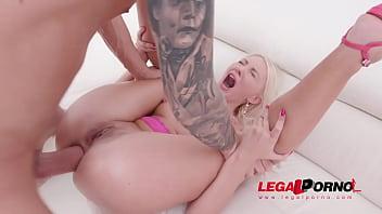 Blonde slut Helena Moeller double anal fucked balls deep SZ2170
