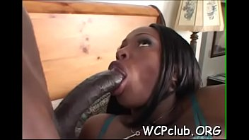 Long chocolate knob enters loving holes of horny beauty