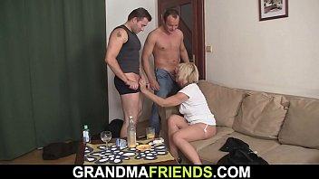 Horny blonde woman threesome