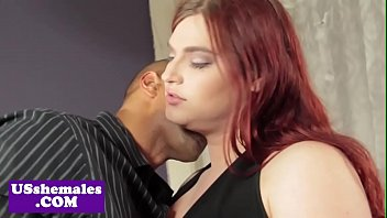 Bigtitted redhead tgirl interracially fucked