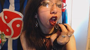 Young Goth Puts on Dark Red Lipstick and Plays with Huge Puffy Nipples