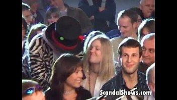 Hot brunette girl seduces the crowd