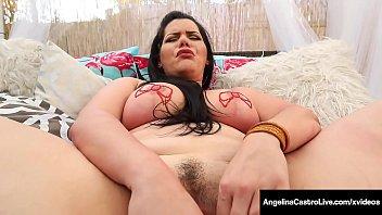 Big Love Handled Latina Angelina Castro Dildo Fucks Outside!