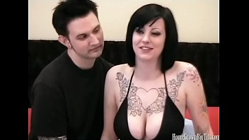 Busty and natural Busty tattooed amateur in homemade sex video