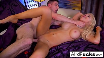 ALix Lynx drains Brad's cock with her pussy and mouth