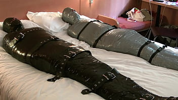 Mummified and Locked in A Rubber Sleepsack by Dave Tie 'Em Up
