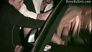 Girl's ass through car window for anyone to fuck in public sex gang bang orgy