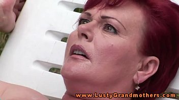 Grannie redhead Ginger mature granny fingered outdoors