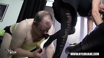Satin nylon cock foot worship and wank