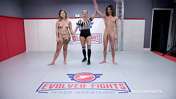 Nude wrestling fight as Red August battles newcomer David Lee and gets a hard fucking