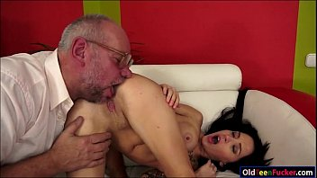 Russian Sandra Luberc is seducing a grandpa and gives a bj