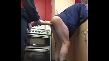 bisexual guy films himself getting his ass pegged with a large dildo by masked girlfriend in the kitchen