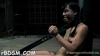 Bounded serf gal is getting a lusty pussy punishment
