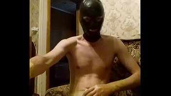 Guy wanking in transparent latex shorts